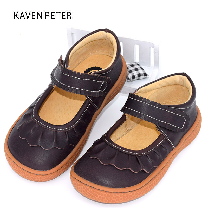 2017 Genuine Leather shoes Autumn children casual shoes kids girls leather shoes female sneaker coffee brown shoes size22-34