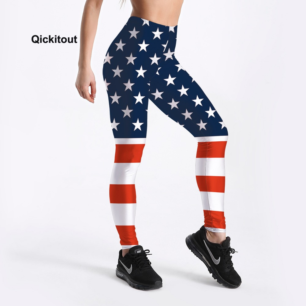 Qickitout Summer Style Women Leggings Fitness Leggings American Flag Star&Stripe Printed High Waist Leggings Workout Pants S-4XL