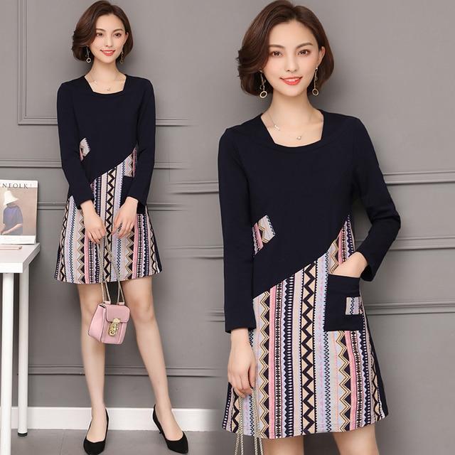 7584234ac39 Woman gown dress plus size large big 4xl 5xl clothes robe t shirt dresses  striped full sleeve pocket winter autumn black dress