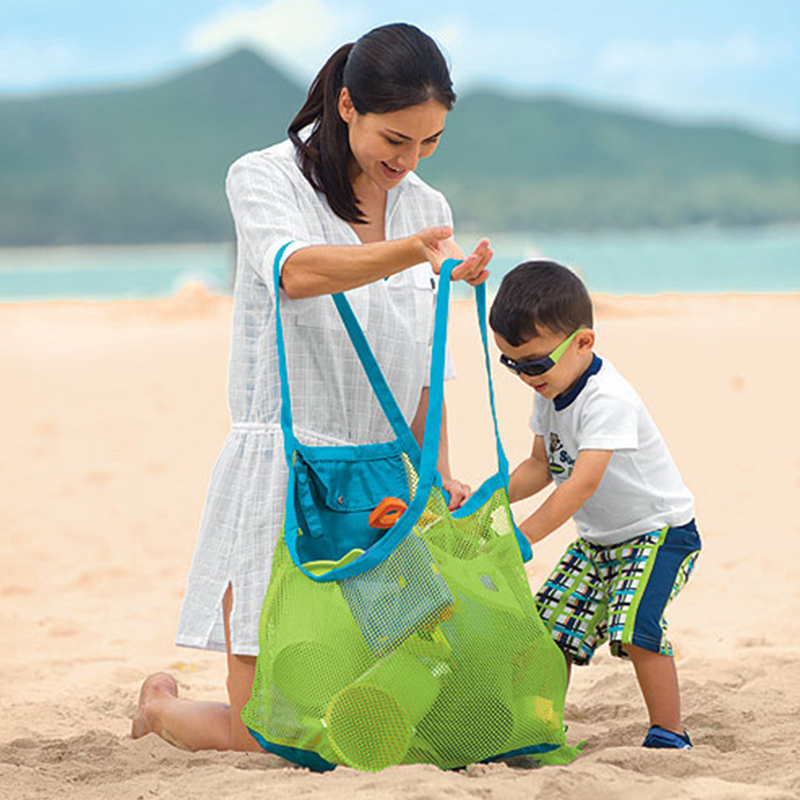 Durable Holding Toys Balls Beach Mesh Tote Bag Beach Swimming Bag Children Toys Stay Away From Sand Outdoor Swimming Storage Bag