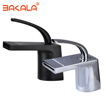 Free shipping Chrome & Black color Waterfall Faucet Brass Bathroom Faucet Bathroom Basin Faucet Mixer Tap Hot & Cold Sink faucet