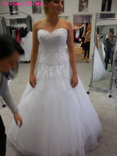 New Arrival Mermaid Beads Wedding Dress Free of Charge to Custom Made Appliqued Tulle Bridal Gowns