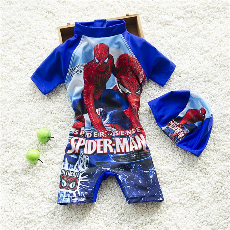 New Spider-Man Design Kids Swimsuit Quality Boys Swimwear Teenagers One-pieces Lovely Blue Infant Bath Suit Children Beachwear