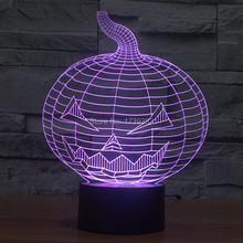 Free Shipping 7 Multi Color Changing Halloween Evil Pumpkin 3D LED Night Light USB LED Decorative Table Lamp Desk Mood Lighting multi color usb glitter decorative mood lamp