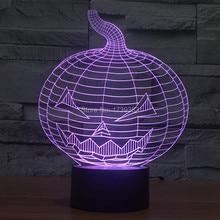 Бесплатная Доставка 7 Мульти Изменение Цвета Хэллоуин Зло Тыквы 3D СВЕТОДИОДНЫЕ Night Light USB LED, Декоративный Настольная Лампа Стол Настроение освещение