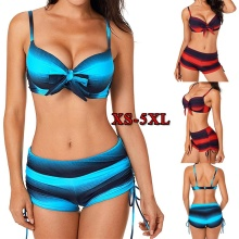 Large Size Women Push Up Bikini Set Print Two Pieces Swimwear Tankini Striped Plus Size Swimsuit Bow Tied Bathing Suit 5XL