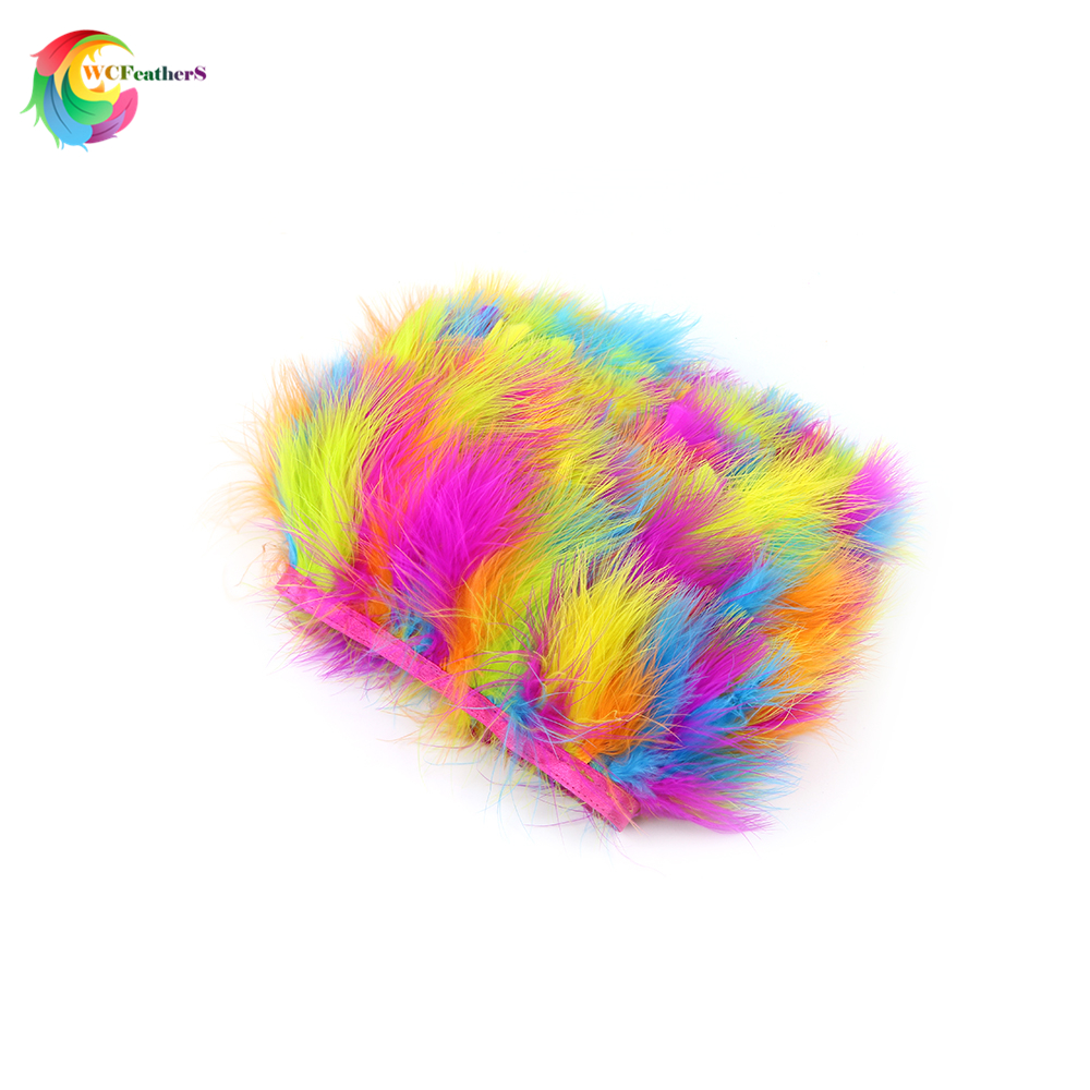Feather Fringe band Accessories Costumes Stage Clothes Crafts Ostrich Trims Ribbon Tape Decoration Satin DIY Handmade Soft Dress Sewing Blue