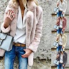 Women Plus Size Colored Casual Faux Fur Coat Ladies Lapel 2019 Autumn Winter Elegant Pink Warm Soft Outwear Oversize fleece coat