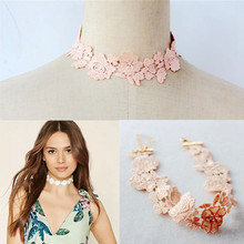 LIN STUDIO Wholesale Jewelry Lots Pink Lace Flowers Choker Necklace For Women Around The Neck Necklaces Female