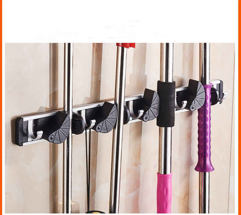 1PC Wall Mounted Storage Mop Holder Brush Broom Hanger Storage Rack Organizer Mounted Accessory Hanging Cleaning Tools NG 001