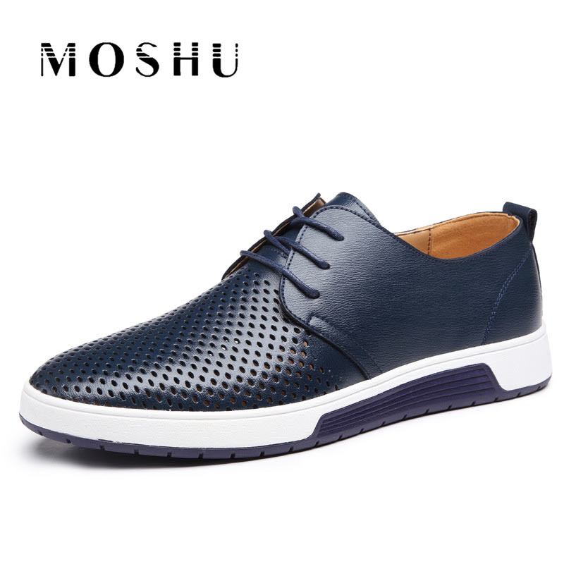 Summer Men Genuine Leather Flats Shoes Loafers Lace Up Casual Shoes Breathable Male Chaussure Homme Plus Size 37-47 2018 new high quality men casual shoes plus size men loafers lace up cow leather casual flats shoes chaussure homme cuir zapatos
