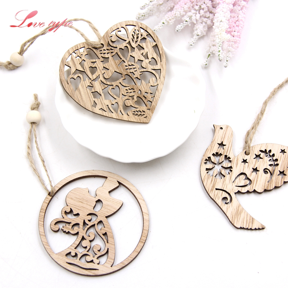 6PCS Lovely Wood Craft Heart&Bird&Angle Wooden Pendants Ornaments Wedding/Birthday Party Decorations Kids Gift DIY Decoration
