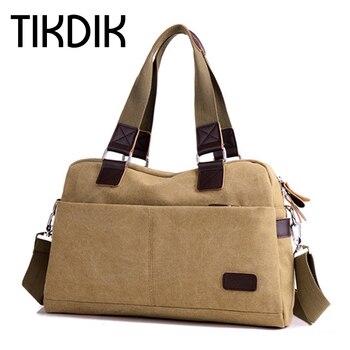 Men's Canvas Briefcase Crossbody Bag Military Shoulder Bags Vintage Messenger Bag Fashion Scholl Bag Travel Brown Leather Tote