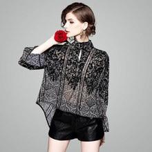 2019 Summer new stylish women's fashion stand collar flare sleeve jacquard print chiffon shirt Irregular blouse for girls 80088 stylish flare sleeve collarless long chiffon blouse for women