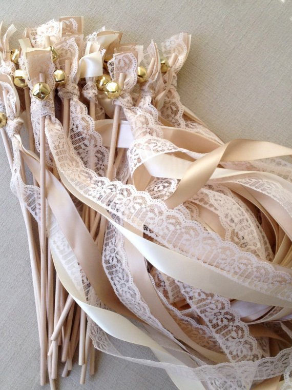 50 Wedding Wands Lace Gold Silver Bells Ribbon Birthday