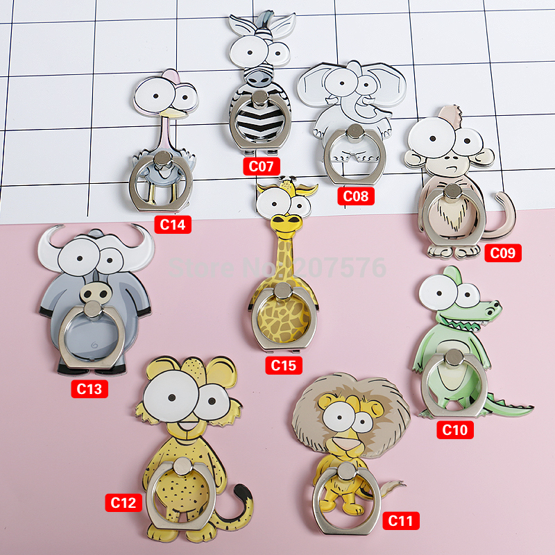 2018 Car Holder High Quality 360 Degree Cartoon Animal Finger Ring Mobile Phone Smartphone Stand Paste Type for Iphone