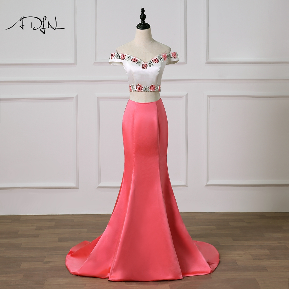 ADLN Off-the-shoulder Two Pieces   Prom     Dress   Delicate Beaded Rhinestones Robe de Soiree Satin Mermaid Evening Gown Customized