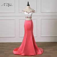 ADLN Off the shoulder Two Pieces Prom Dress Delicate Beaded Rhinestones Robe de Soiree Satin Mermaid Evening Gown Customized