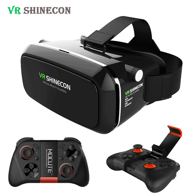 2017 Shinecon VR Virtual Reality 3D Glasses Headset Helmet for 4-6' Smartphone Cardboard Helmet + Mocute Gamepad Joystick 050