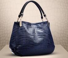 women shoulder bag handbag crocodile patent leather ladies leisure bag elegant women s clutch bag with patent leather and crocodile print design