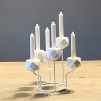 Modern White Five Branches Tabletop Iron Candlestick Holder Metal Candle Stand Holder Home Wedding Decorative Accessories