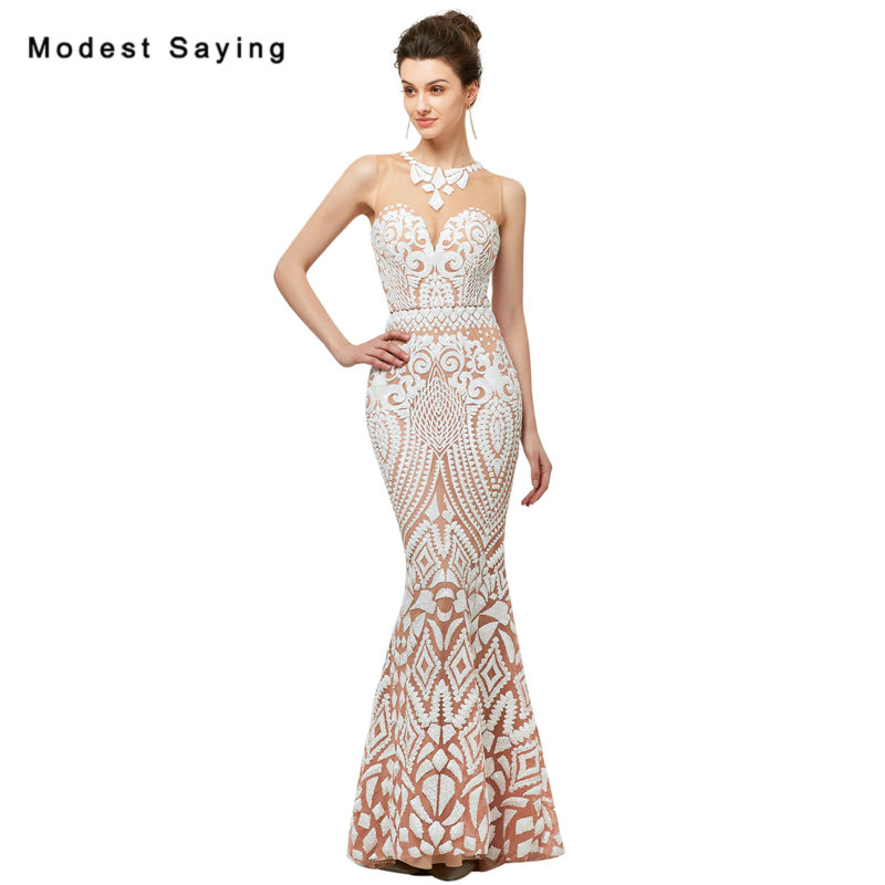 Luxury Sheer Ivory Mermaid font b Sequined b font Lace Evening font b Dresses b font