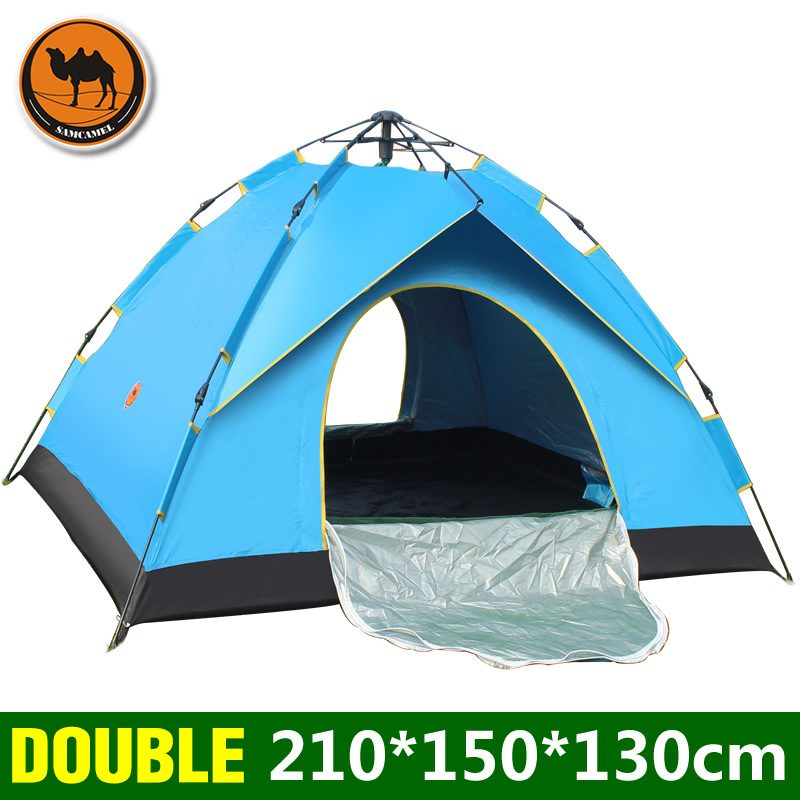 1 2persons single layer automatic tent outdoor camping UV polyester waterproof fabric silver coated shell family