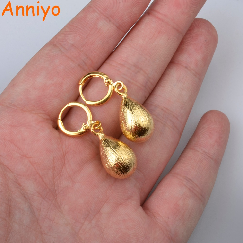 Anniyo Water Drop Earrings for Women/Girl,Gold Color Ethiopian Trendy Earrings Arab Middle Eastern Jewelry Gift #051004 anniyo wholesale coin bracelet for women arab chain middle eastern gift gold color coins jewelry middle eastern wedding 048006