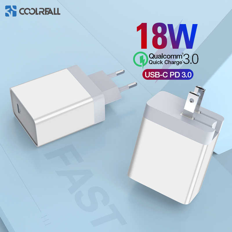 Coolreall 18 واط PD سريع شاحن يو اس بي سريع تهمة 3.0 USB نوع C شاحن آيفون 8 X XS XR PD شاحن لهواوي سامسونج شاحن