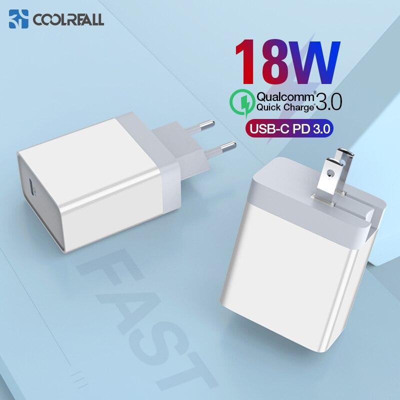 Coolreall 18W PD Carregador Rápido USB Carregador de Carga Rápida USB 3.0 Tipo C para iPhone 8 X XS XR carregador para Huawei Samsung Carregador PD