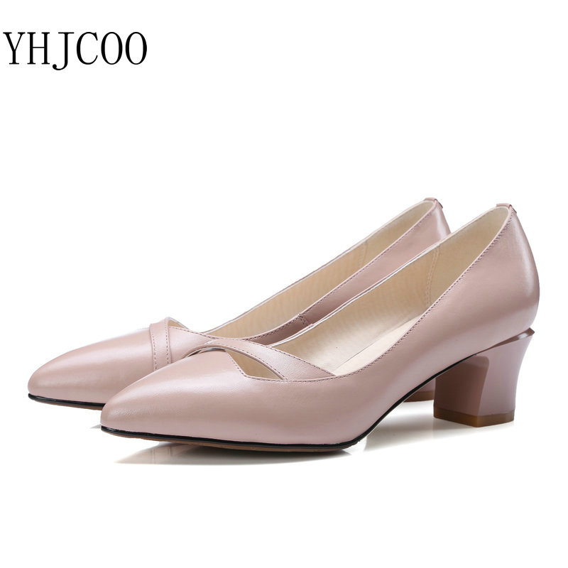 Fashion Simple Square Heel Shallow Mouth Cow Leather Women
