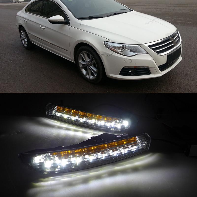 Car Flashing 1Pair Car LED Daytime Running Lights For Volkswagen Passat CC 2009 2010 2011 2012