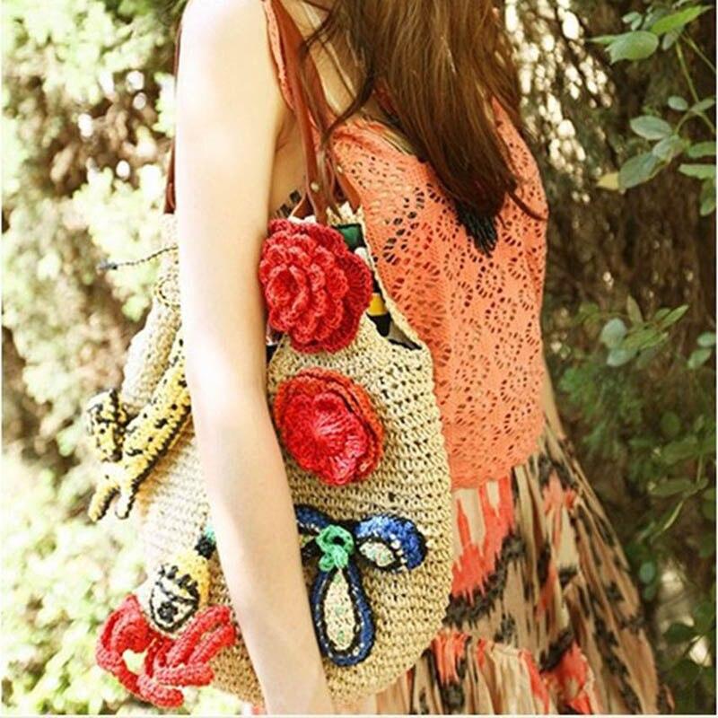 Summer Women Rattan Tiger Straw Bags Tote Large Ladies Beach Handbag Wicker Travel Flower Crochet Shopping Bag Bolso Paja W3 1