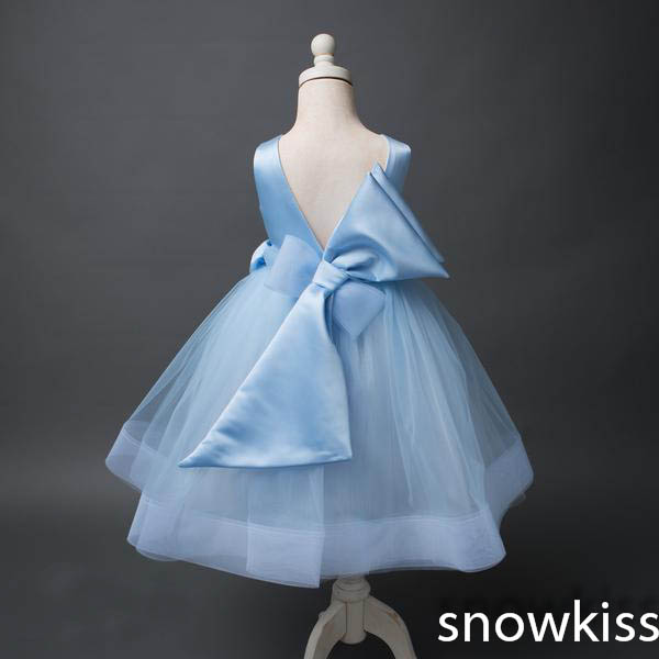 Cute pretty ice blue backless A-line puffy tulle flower girl dress beaded Draped with big bow baby kids birthday party gown silver gray purple pink blue ball gown tutu soft tulle puffy flower girl dress baby 1 year birthday dress with spaghetti straps