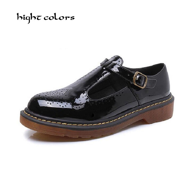Women Platform Shoes Oxfords Brogue Patent Leather Flats Buckle Strap Shoes Creepers Vintage Luxury Light soles Casual Shoes qmn women genuine leather platform flats women cow leather oxfords retro square toe brogue shoes woman leather flats creepers