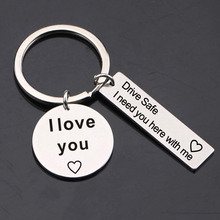 Fashion Key Rings Drive Safe I Need You Here with Me Love Couples Keychain/Engraved Keychain/Husband Gift/Boyfriend Gift