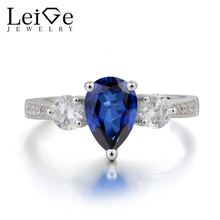 Leige Jewelry Lab Blue Sapphire Ring Wedding Ring Pear Cut Gemstone September Birthstone Solid 925 Sterling Silver Ring for Her