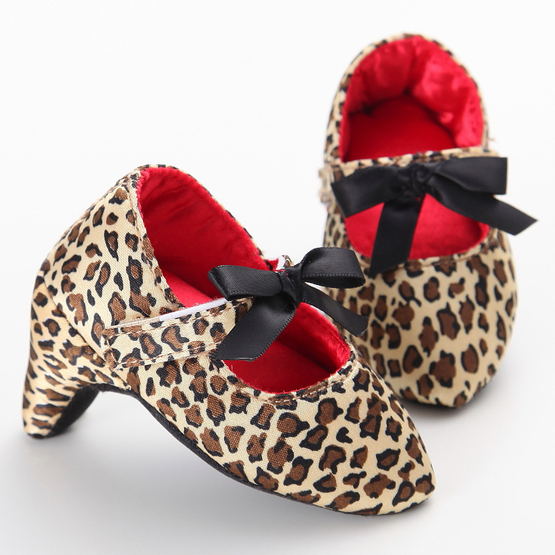 Newborn Baby Girl High Heels Shoes Bowknot Soft Sole Shoe 2018 Toddler Bow Leopard Princess Crib Shoes