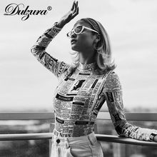 Dulzura newspaper print women sexy bodysuit 2018 autumn winter women streetwear stretch skinny newsprint body(China)