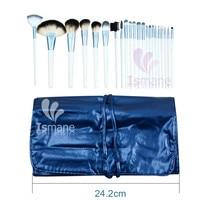 Blue Goat Hair Pony Hair Wood Handle Aluminum Ferrule Pro 22pcs Professional Cosmetic Brushes