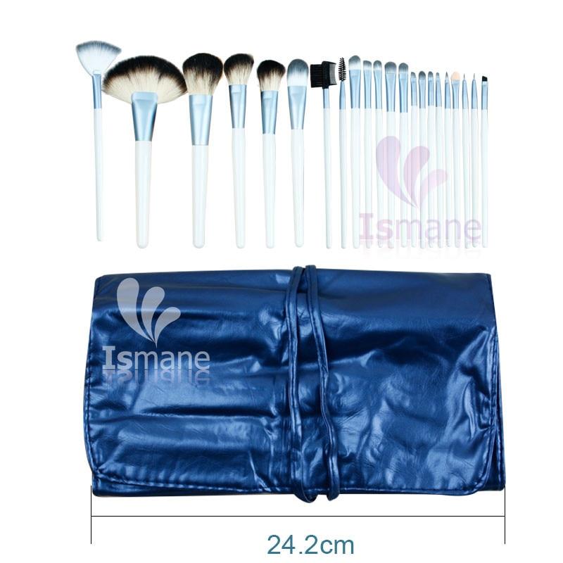 ISMINE 22 Pcs Professional White Handle Make Up Set Blusher Powder Blue Brush Makeup Tool Cosmetic Kit With Blue Leather Case bob cosmetic makeup powder w puff mirror ivory white 02