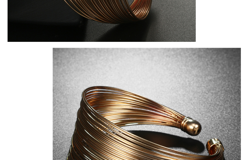 CWEEL Fashion Open Bangles For Women Christmas Gifts Vintage Round Dubai Gold Color Bangles Metal Party Cuff Bracelets Jewelry (2)