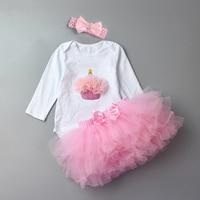 3Pcs Baby Girl Sets With Headbands Fashion Newborn Lace Skirt Set Organic Cotton New Born Cartoon