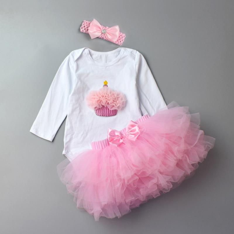 3 Pcs Bayi perempuan pakaian Set Mode Baru Lahir Bayi Tutu Rok Katun - Pakaian bayi