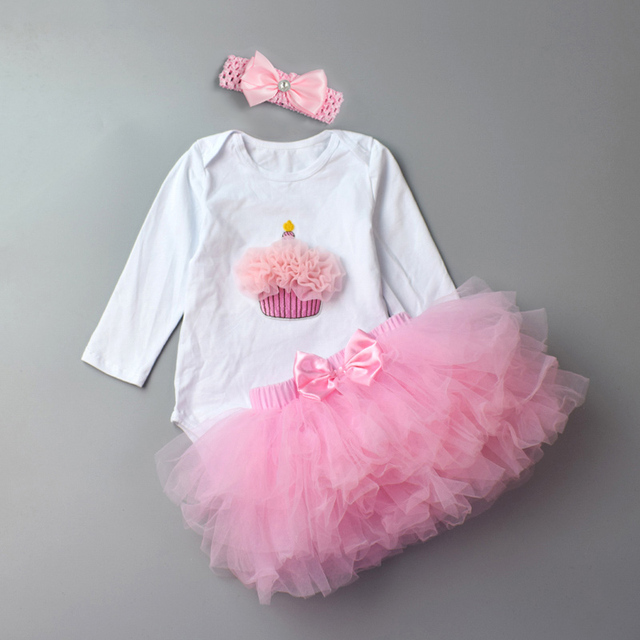 ba35d89ea67c 3Pcs Baby Girl clothing Set Fashion Newborn Infant Tutu Skirt Organic  Cotton Cartoon Bodysuits with handband Petticoat Clothes