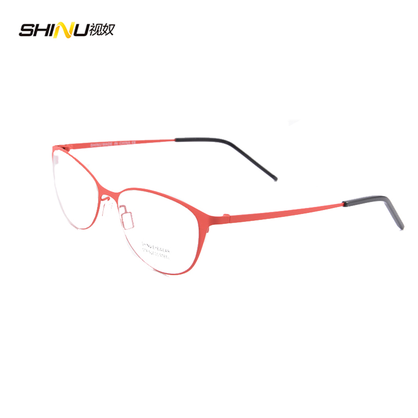 Eye Glasses Frames For Women Red Round Metal brand ...