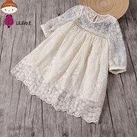 2017 Summer Flower Girl Wedding Dresses Baby Girl Dress Headband Lace Flower Embroidery Children S Dress