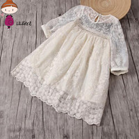 2017 Summer Flower Girl Wedding Dresses Baby Girl Dress Headband Lace Flower Embroidery Children S Dress