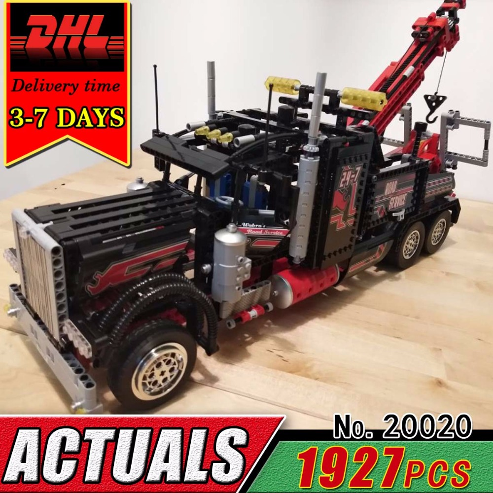 DHL LEPIN 20020 Technic Series Pneumatic Tow Truck Model Electric Building Block Set Compatible 8285 Brick Educational Toy Child technican technic 2 4ghz radio remote control flatbed trailer moc building block truck model brick educational rc toy with light