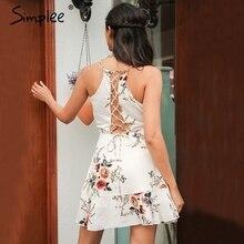 Simplee Онлайн оборками с цветочным принтом летнее платье женские глубоким v-образным вырезом спинки повязку сексуальное платье Повседневное праздничное короткое платье
